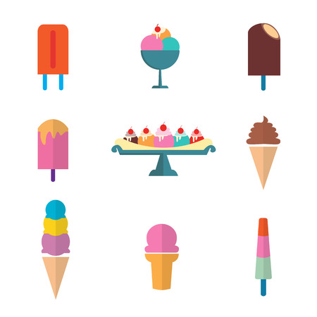 vector of ice cream set