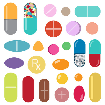 vitamin pills: Colorful pills and capsules