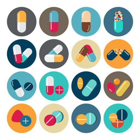 Colorful pills and capsules icon