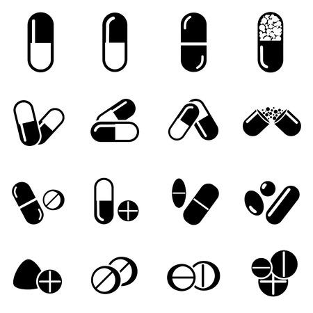 pastillas: Pastillas y c�psulas icono Vectores