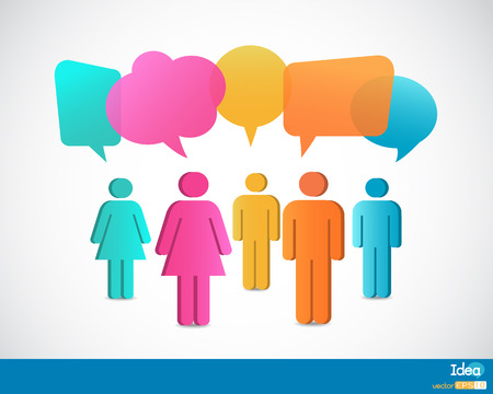 People icons with talking speech bubbles Vector