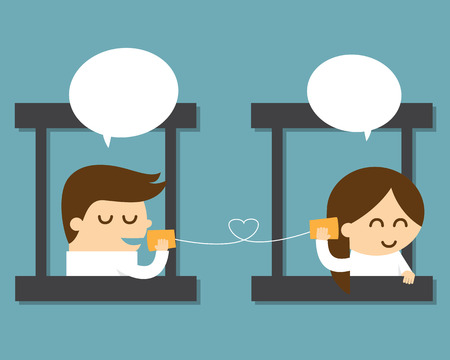 couple talking with can telephone
