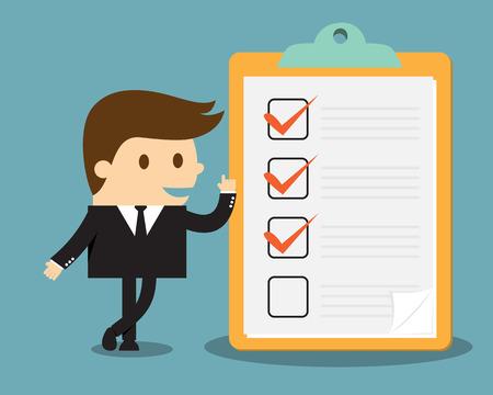 evaluacion: El hombre de negocios con el sujetapapeles y lista de verificación Vectores
