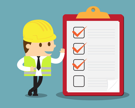 Engineer with clipboard and checklist