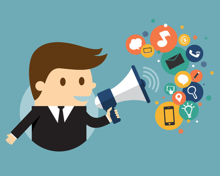 Businessman holding a megaphone with cloud of icons, Digital Marketing Çizim
