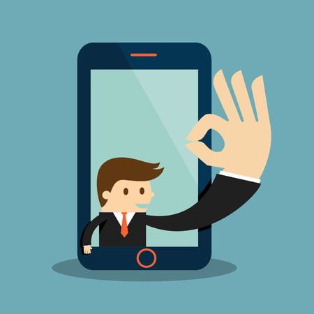 Business man show okay in a cellphone screen Illustration