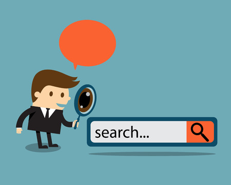 icons site search: Business man examines through a magnifying glass with search engine button