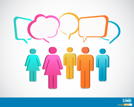 People icons with talking speech bubbles Illustration