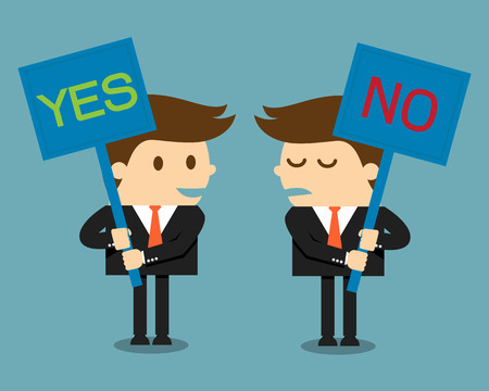 assertion: Businessman holding a signboard with the word yes or no written in it