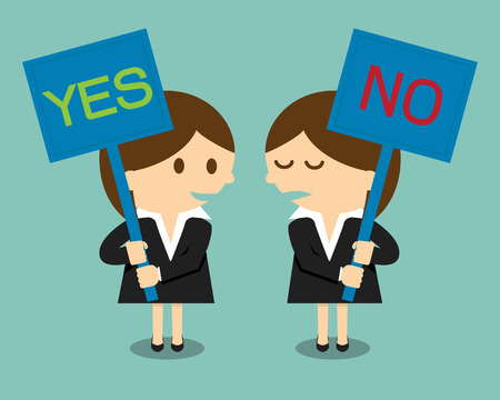 assertion: Businesswoman holding a signboard with the word yes or no written in it Illustration