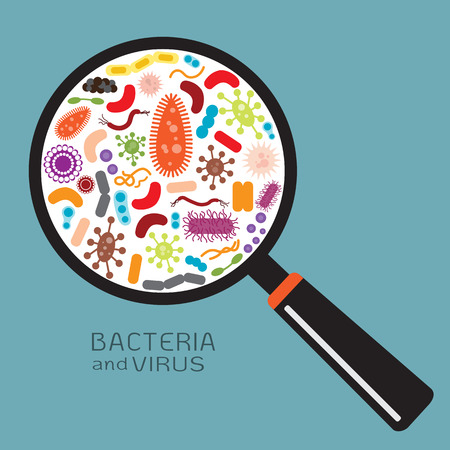 bio: Magnifier with bacteria and virus