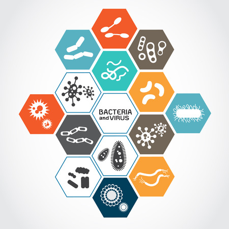 bacterias: Conjunto de iconos con bacterias y virus Vectores