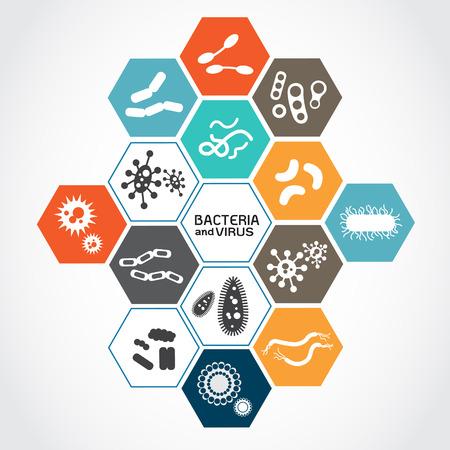 Set van iconen met bacteriën en virussen Stockfoto - 40605965