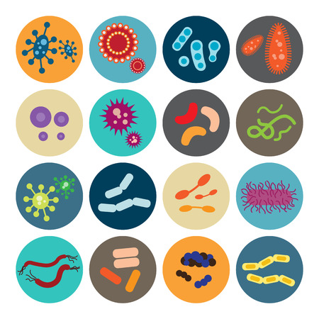 cholera: Set of icons with bacteria and virus