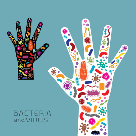 anthrax: Hand with bacteria and virus