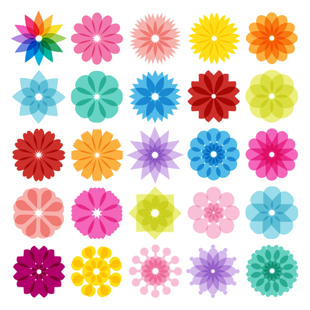 abstract pink: Set of Abstract Flowers Icons