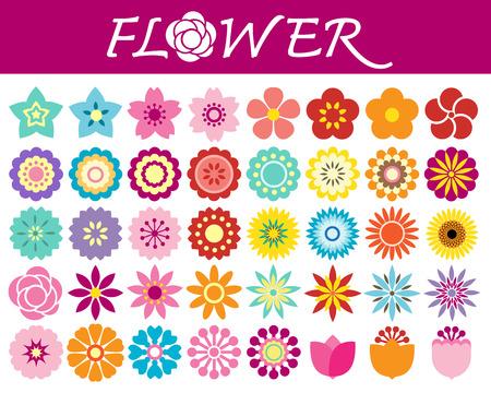 conjunto: Conjunto de iconos de flores coloridas en silueta sobre fondo blanco Vectores