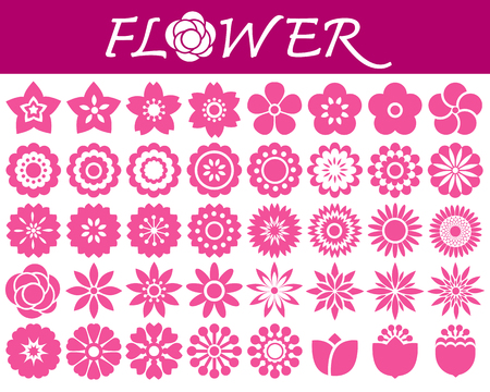 Set of colorful flowers icons