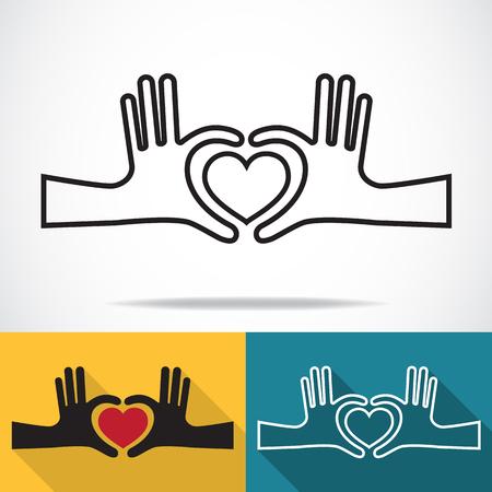 Handen in de vorm van een hart, Line icon