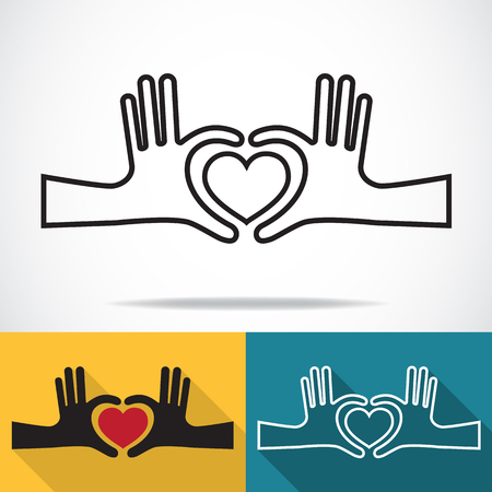 love and friendship: Hands in the form of heart, Line icon