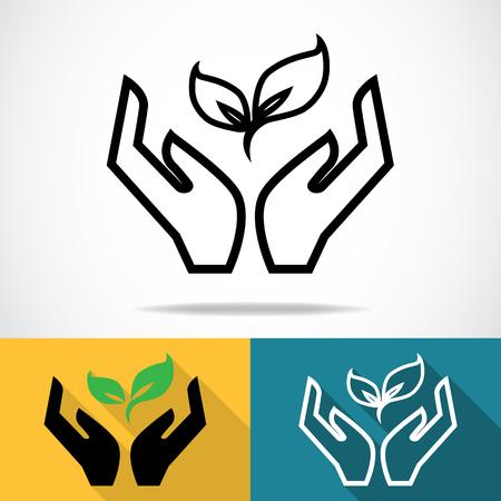 Handen met planten icoon