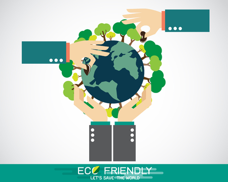 Reforestation, Hand planting a seed on globe 矢量图像