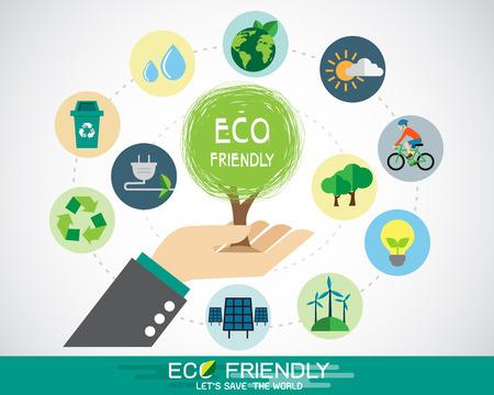 Hand met boom en ecologie icon Stock Illustratie