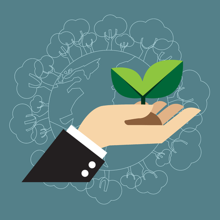 Hand holding green plant, Reforestation, Environment conservation concept Illustration