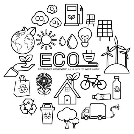 Ecology line icon 向量圖像