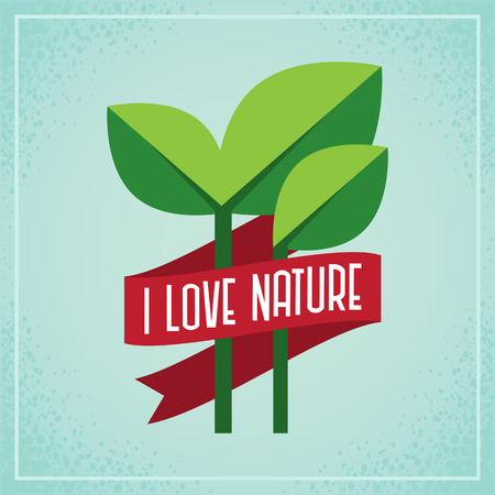 Green plant with red ribbon , Environment conservation concept Ilustrace