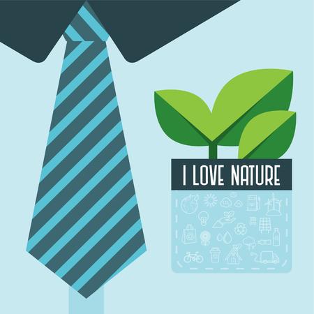 Pak en groene bladeren Stock Illustratie