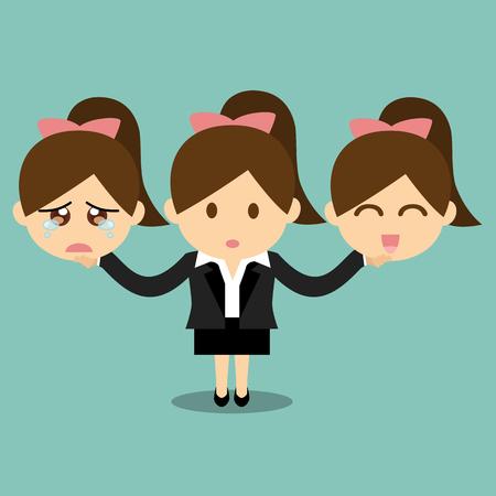 persona feliz: Negocios la celebración de cara emociones feliz y triste