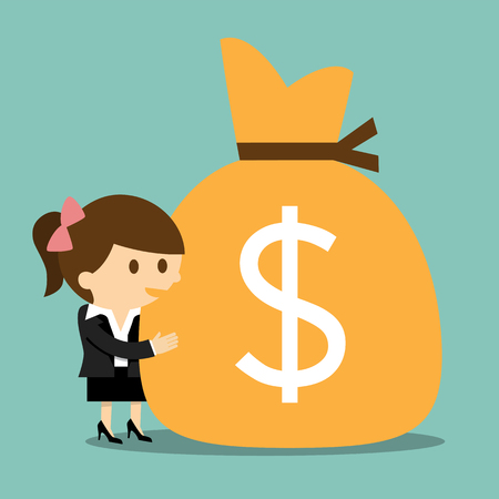 woman holding money: Businesswoman hugging  a sack of money