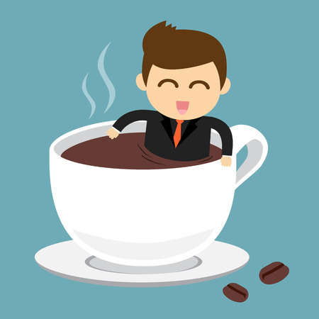 Businessman take a bath in cup of hot coffee Çizim