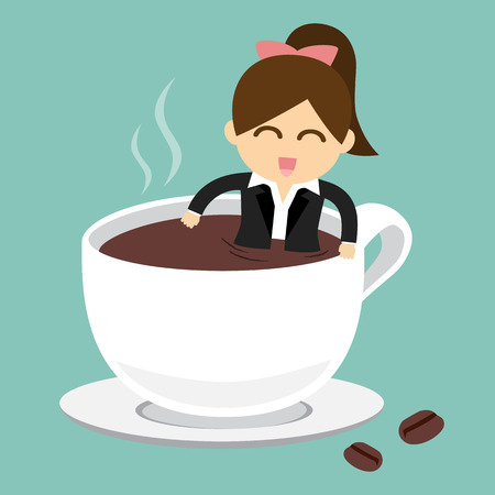 Businesswoman take a bath in cup of hot coffee