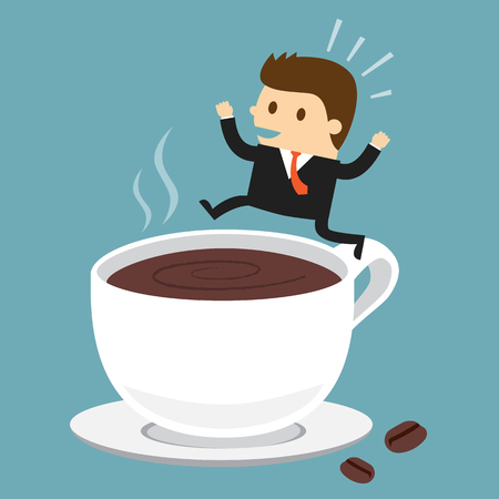 Businessman jumping on the cup of coffee