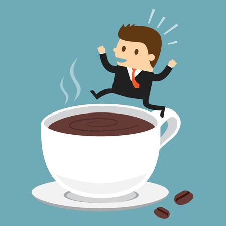 Zakenman springen op het kopje koffie Stock Illustratie