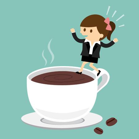 Zakenvrouw springen op het kopje koffie Stock Illustratie