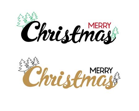 Gelukkig kalligrafie Kerstmis met kerstboom voor banner, poster, wenskaart, party uitnodiging.