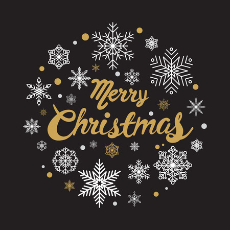 Gelukkig kalligrafie Kerstmis met sneeuwvlok voor banner, poster, wenskaart, party uitnodiging.