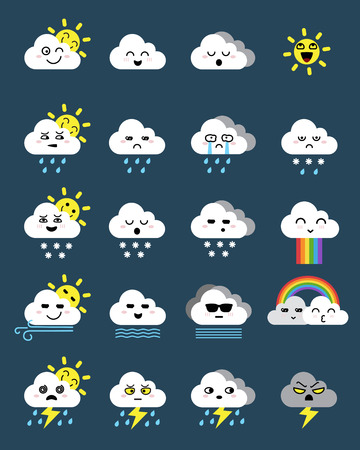 Cute emoticon icon of cloud icon, weather icons set, Flat vector symbols on dark background.
