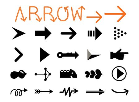 Set of Arrows on White Background Çizim