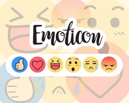 Set of Emoticon, Social media reactions