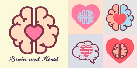 Heart and brain, Emotions and logic concept. 向量圖像