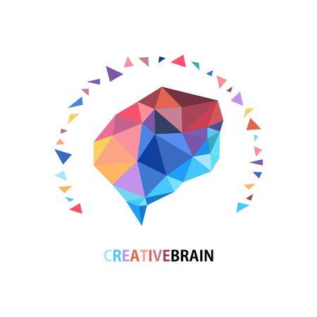 Design conceptual polygon Style Brain,Vector  Illustration on white background