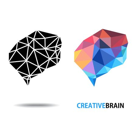 Design conceptual polygon Style Brain, Vector  Illustration on white background