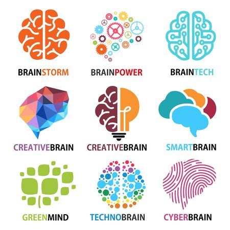 Set of brain icons, Brainstorming, creativity, ideas, inspiration, intelligence, technology, thoughts, innovation, Green mind and smart brain, Vector illustrations.
