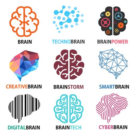 Set of brain icons, Brainstorm, creativity, ideas, inspiration, intelligence, technology, thoughts, innovation, strategy and smart brain, Vector illustrations.