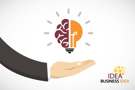 Business hand and creative light bulb.