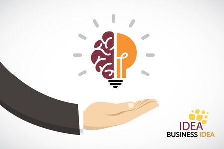 Business hand and creative light bulb.